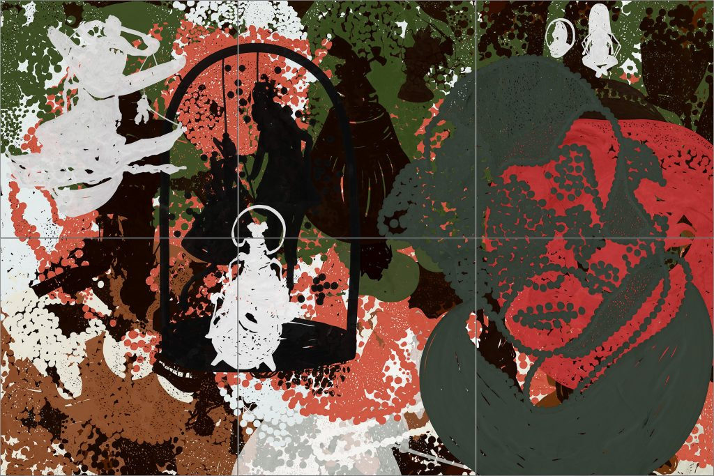 storyboard njord 19, 2019, mixed media on acrylic glass, 200 x 300 cm, six - part