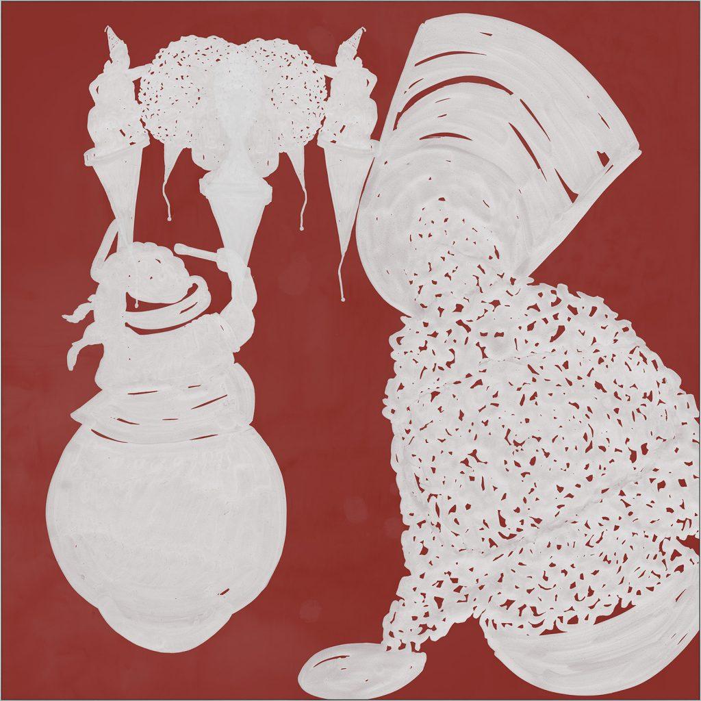white 1, 2019, mixed media on acrylic glass, 100 x 100 cm
